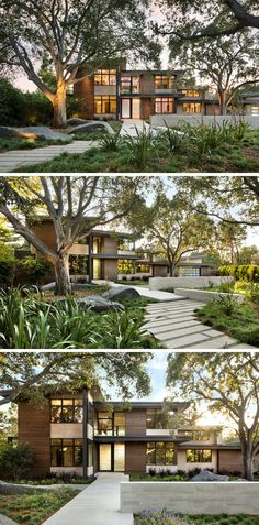 modern house has small plants and grasses that surround established trees that are highlighted with the use of lighting and a path leads to the front door. Modern Landscaping, Outdoor Landscaping, Landscaping Ideas, Backyard Ideas, Outdoor Fire, Outdoor Areas, Tiered Seating, House Landscape, Small Plants