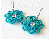Items similar to Turquoise  Tatted Earrings - Multilayered Tatted  Lace on Etsy