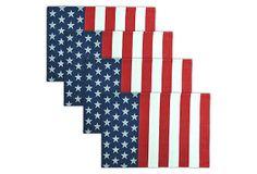 S/4 Striped Flag Jacquard Place Mats on OneKingsLane.com