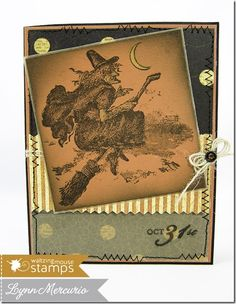 A vintage witch flying high on Halloween, created with a new set from Waltzingmouse Stamps.