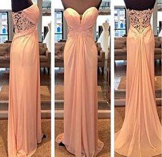 Sweetheart Long Chiffon Prom Dress,Floor Length Party Dresses