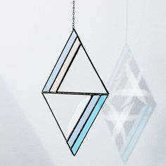Since discovering her passion for stained glass, Janel Foo has been hard at work, creating a collection of pieces that beautifully showcases the craft. The Janel Foo Glassworks Modern Geo Suncatcher are inspired by clean lines, modern shapes + bri… Stained Glass Suncatchers, Room Planning, Mirror Art, Beveled Glass, Blue Walls, Home Wall Art, Pattern Blocks, West Elm, Glass Jewelry