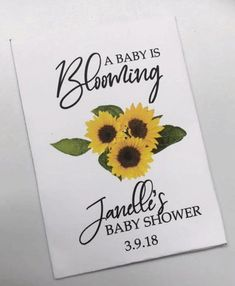 Personalized Baby Shower Favors, Personalized Candy, Baby Favors, Baby Shower Gifts, Baby Gifts, Sunflower Baby Showers, Custom Wedding Favours, Virtual Baby Shower, Sunflower Design