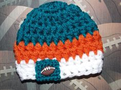NFL Miami Dolphins inspired baby hat  team sports  by LadybugLB, $13.00