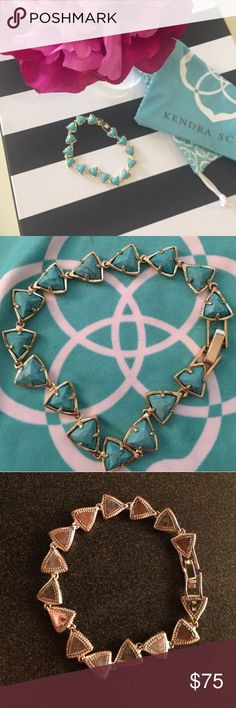 Kendra Scott Ripley Bracelet! Rare & Hard to Find Worn only a few times, there is a little tarnishing on clasp but other than that NO signs of tarnishing when wearing, the back does have a lot of tarnishing but you can't see when it's on (why the price is so low) but if you take it in they can switch it out or clean it or give you money for it (I don't live close enough to one to take it in) bundle discount does not apply. Kendra Scott Jewelry Bracelets