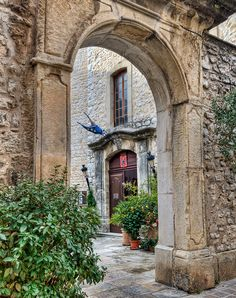 Courtyard entrance, and doorway of the Mairie, Tourrettes sur Loup, Côte d'Azur