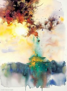 Amazing watercolor by yuko nagayama abstract watercolor, watercolor landscape, japanese watercolor, art techniques Watercolor Paintings For Beginners, Beginner Painting, Watercolor Techniques, Art Techniques, Japanese Watercolor, Art Watercolor, Watercolor Landscape, Simple Watercolor, Watercolor Japan