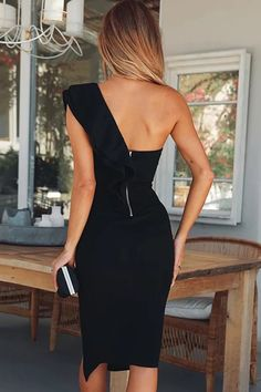 Shop Solid One Shoulder Ruffles Trim Slit Bodycon Dress right now, get great deals at Voguelily Elegant Dresses For Women, Pretty Dresses, Sexy Dresses, Casual Dresses, Fashion Dresses, Prom Dresses, Formal Dresses, Summer Dresses, Wedding Dresses