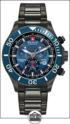Swiss Military SM34223AEU/H04MS - Reloj de cuarzo para hombres con esfera azul y correa plateada de acero inoxidable de  ✿ Relojes para hombre - (Gama media/alta) ✿