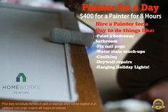 Painter for a day Nail Pops, Drywall Repair, Water Stains, Holiday Lights, Clean House, Cleaning Hacks, Cool Stuff, Learning, Random
