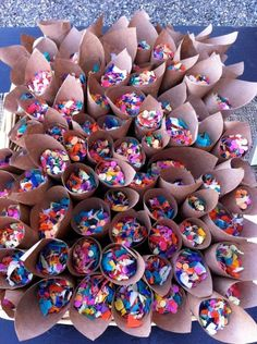 LOVE these Confetti Cones...cute decor and practical!