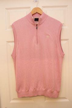 GREG NORMAN Pima Cotton/Modal Windbreaker LINED 1/3 Zip Sweater Vest Size M PINK #GregNorman