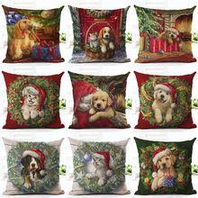 Decoração de natal Travesseiro Cães Bonitos e Gatos Dom Capa de Almofada de Linho de Algodão Throw Pillow Caso Da Árvore de Natal de Papai Noel(China)