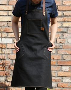 Unisex Black Denim Bib Apron with Genuine Leather Straps and Convenient Pockets. Suitable for Uniforms of Barber,Hairdresser,Barista,Bartender,Stylist,Waiter/Waitress,Florist,Painter,Gardener, Baker,Chef,or Work ware of Cafe, Bistro, Restaurant,Bakery,Tattoo shop,Craft workshop etc.