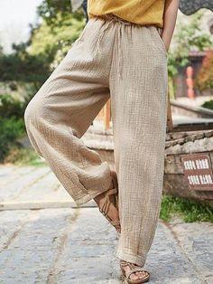 Loose Retro Lace-up Pants - cicklive Oriental Fashion, Oriental Style, Wide Leg Linen Pants, Loose Jeans, Pantsuits For Women, Soft Pants, Plus Size Pants, Colored Pants, Plus Size Casual