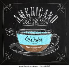 Poster coffee americano in vintage style drawing with chalk on the blackboard