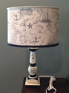 Nautical theme hand painted lamp with handmade fabric lampshade by HolyChicBoutiqueCo on Etsy