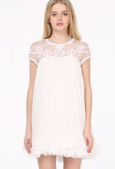 White Short Sleeve Lace Pleated Chiffon Dress 37.50  Cute dress for farewell