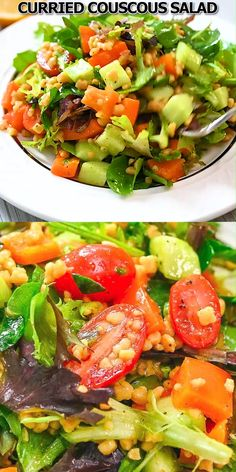 This Curried Couscous Salad is light and refreshing, and oh so delicious. You'll love it for a healthy lunch or a flavorful side at dinner. Healthy Meal Prep, Healthy Dinner Recipes, Vegetarian Recipes, Healthy Eating, Cooking Recipes, Vegetarian Sweets, Healthy Food, Curried Couscous, Couscous Salat