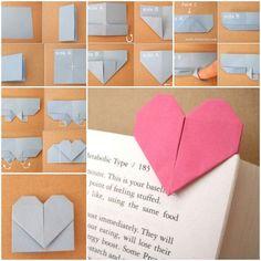 DIY Origami Heart Shaped Bookmark  https://www.facebook.com/icreativeideas