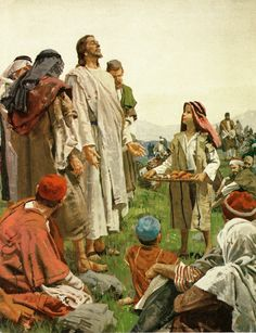 God Can and Will Supply All of Your Needs according to His Riches in Glory in Christ Jesus. Let Jesus Supply Your Needs Today like He Did with the Five Thousand. - Illustration/ Painting by Harry Anderson