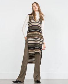 Image 1 of LONG TOP from Zara Gilet Long, Fall Trends, Zara Women, Long Tops, Knitwear, Stripes, Tunic Tops, Plus Size, Elegant