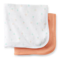 "Carter's Girls 2 Pack Hot Air Balloon Print and Peach Polka Dot Cotton Receiving Blankets - Carters - Babies ""R"" Us"