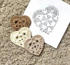 Pequeno Coração crochê Square