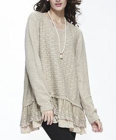 Another great find on #zulily! Beige Lace Layered Sweater by Simply Couture #zulilyfinds