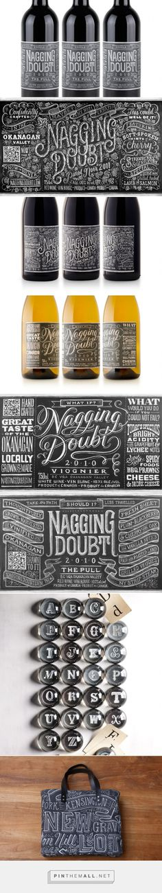 Nagging Doubt Viognier wine packaging designed by Brandever, illustrated by Dana Tanamachi-Williams - http://www.packagingoftheworld.com/2015/09/nagging-doubt-viognier.html