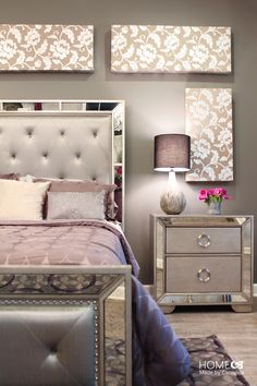 Bedroom furniture idea a dream house tour home decor home bedroom bedroom decor and home bedroom Bedroom Sets, Home Decor Bedroom, Master Bedrooms, Diy Bedroom, Girls Bedroom, Mirrored Bedroom Furniture, Mirror Bedroom, Silver Bedroom, Purple Master Bedroom