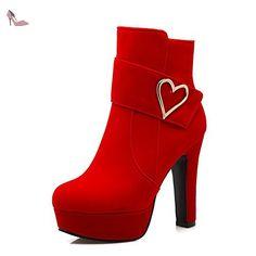 AgooLar Femme Couleur Unie à Talon Haut Rond Dépolissement Zip Bottes, Rouge, 41 - Chaussures agoolar (*Partner-Link)