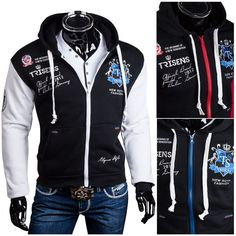 Trisens Herren Hoodie Oldschool Kapuzen College Jacke Herren Mode Kapuzenpullover & Sweats found on Polyvore