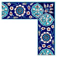 İznik Çinisi Bordür - Anikya Mimari Turkish Tiles, Turkish Art, Tile Art, Mosaic Art, Mosaics, Border Pattern, Pattern Art, Islamic Tiles, Islamic Art Pattern