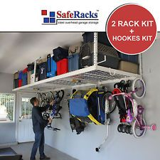 SafeRacks 4' x 8' Overhead Garage Storage 2 Rack Kit Heavy Duty + Hooks Kit NEW!