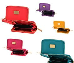 """Super cool are these ladies mini zip wristlets - available in 8 color choices:  Coral Orange Teal Fuschia Mustard Yellow Lime Violet Royal Blue  Each wristlet comes with a zip closure and will hold a smart phone measuring up to 5"""" x 2.5"""".    Don't miss this beauties!  On sale until 1..."""