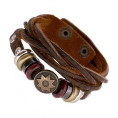 Pulseras Bijoux Handmade Genuine Leather Braided Buckle Bracelet Bronze Round Flower Rivet Retro Jewelry Surfer Couple Bracelet