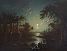 "catonhottinroof: ""Sebastian Pether (1790–1844) Moonlit River Scene with a Capriccio of Ruins """