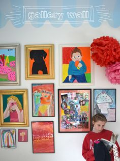 Gallery Wall // Children's Art. A collection of photos of gallery walls featuring kids' artwork, arranged into four different categories (hang on a line, prop on a ledge, framed and hung in groups, stuck up on the wall with tape).  Ideas and inspiration