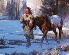 ~J~               American Indian, beautiful horse...snow..