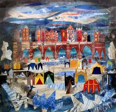 'Frost Fare On The Thames' by Ed Kluz. Between 1600 and it was not uncommon for the River Thames to freeze over for up to two months at time (Mixed media and paper collage) English Romantic, Collage Techniques, Historical Architecture, Hand Coloring, Contemporary Artists, Frost, Paper Collages, Enter Sweepstakes, Year 9