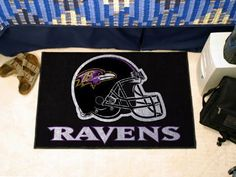 "Baltimore Ravens Starter Rug 20""x30"" by Fanmats. $13.68. Baltimore Ravens Starter Rug 20""x30""Decorate your home or office with area rugs by FANMATS. Made in U.S.A. 100% nylon carpet and non-skid recycled vinyl backing. Officially licensed and chromojet printed in true team colors. Please note: These products are custom made. The normal lead time is about 7-10 business days. However, the putting mats and carpet tiles do take a little longer, about 14-21 business days.**..."