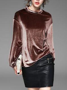 #AdoreWe #StyleWe Tops - KK2 Coffee H-line Velvet Slit Casual Long Sleeved Top - AdoreWe.net