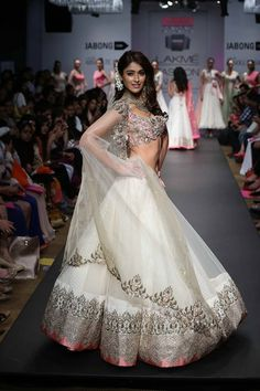Anushree Reddy White Lehenga Choli. Lakme Fashion Week www.gujaratidresses.com