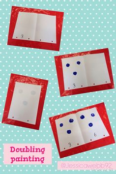 Doubling in the art area. Put the correct number of dots on one half, fold it in half and then count all of the dots to find the double. Maths Eyfs, Numeracy Activities, Eyfs Classroom, Preschool Math, Kindergarten Math, Math Games, Teaching Math, Classroom Displays, School Classroom