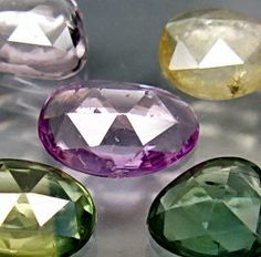 Natural Odd Colored Sapphires Rose Cut Freeforms 5 by SilverFound, $24.50