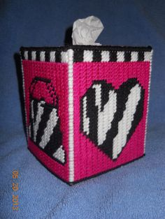 Girly Zebra print Tissue box cover in Plastic by SpyderCrafts, $9.00