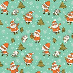 Santa and Teddy Bear Christmas Pattern. Merry Christmas!