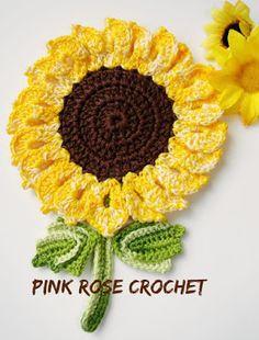 PINK ROSE CROCHET: Girassol em Pega Panelas