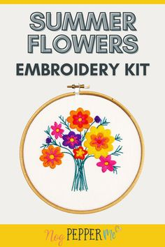 My wildflower embroidery kit for beginners. Create your own bouquet of embroidered flowers. This embroidery patter is aimed at beginners to embroidery. It uses mainly satin stitch to complete and has no french knots! // Nog Pepper Me Modern Embroidery, Embroidery Patterns, Straight Stitch, Satin Stitch, White Gift Boxes, Cotton Bag, Summer Flowers, Craft Kits, Blog Tips